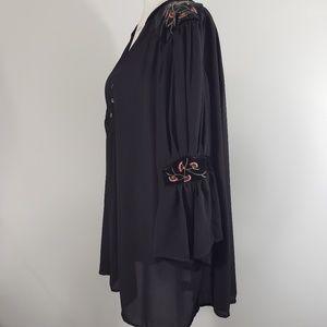Miss Lili Sheer Black Embroidered V-neck Tunic, 2X
